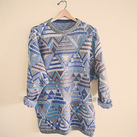 90's 80s Blue Green Brown Jumper Sweater Bogner Tunic Large Stripped Hipster Oversized Cozy Comfy