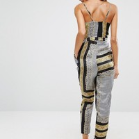 River Island Scarf Print Jumpsuit With Tapered Leg