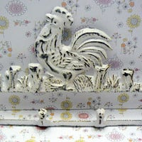 Rooster Wall 4 Peg Hook White Distressed Cast Iron Shabby Style Chic Rustic Country Farmhouse Kitchen Primitive Mudroom Bathroom Hooks