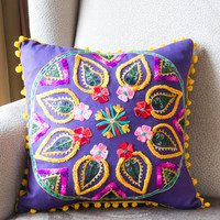 Purple Turkish Traditional Decorative Pillow, Cushion Cover, Embroidered Pillow, Cotton Pillow Case
