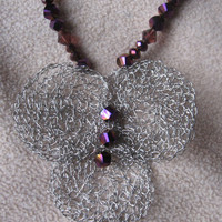 Wire crochet, beaded necklace.