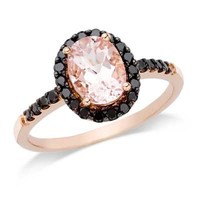 Oval Morganite and 1/4 CT. T.W. Enhanced Black Diamond Ring in 14K Rose Gold - View All Rings - Zales