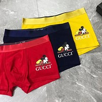 GUCCI x Disney Mickey Men Stylish Briefs Soft Comfortable Breathable Male Underpants Three Piece Set