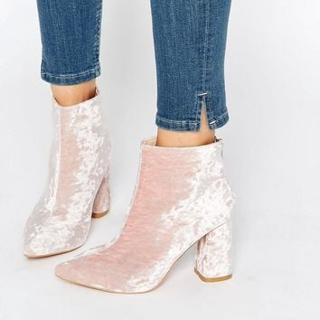 Pink | Daisy Street Pink Crushed Velvet Point Heeled Ankle Boots at ASOS