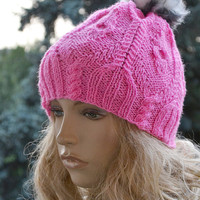 Knitted pink cap/hat - FUR POMPOM