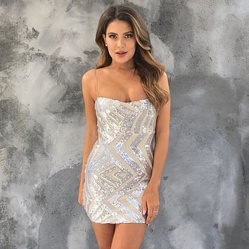 Cross Roads Sequin Mini Dress