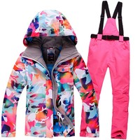 New Winter GSOU SNOW ski Suit Women Sets Windproof Breathable Waterproof Women Snow Jacket+Pants Warm Clothes Set