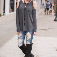 Make Your Move Long Sleeve Cold Shoulder Textured Top (Charcoal)