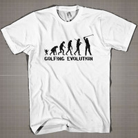 Golfing Evolution  Mens and Women T-Shirt Available Color Black And White