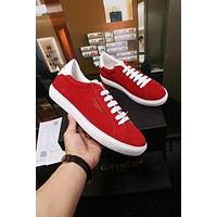Givenchy Low Sneakers In Bicolor Red Suede