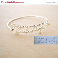 ON SALE Hello February SALE Memorial Signature Bangle - Personalized Handwriting Bangle- Keepsake Jewelry in Sterling Silver - Bridesmaid Gi