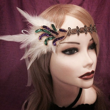 Mardi Gras gold purple green sequin beaded flapper headband head piece headpiece hair piece head gatsby inspired 1920s 20s feather ivory