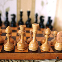"""Vintage Soviet Chess Set - Full Set Wooden Chess - Wood - 14 1/2"""" inch wooden board - 1970s - from Russia / Soviet Union / USSR"""