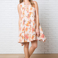 Caylin Floral Trapeze Dress-FINAL SALE