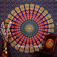 Hippie Mandala Indian Tapestry, blue Cotton Mandala Bed cover In Tradional Jaipur color, Bohemian Block Printed Bed Sheet / Bed Spread