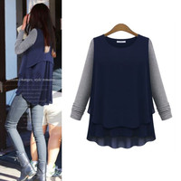 Block Asymmetrical Layered Chiffon Sweater