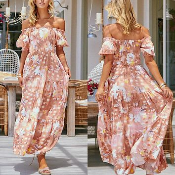 2020 new women's floral print new one-shoulder sleeved dress