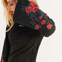 UO Embroidered Floral Bell-Sleeve Top   Urban Outfitters