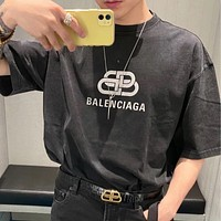 Balenciaga washed old black gray lock double B printed letter round neck half sleeve shirt