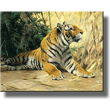 Resting Tiger Painting Picture on Stretched Canvas, Wall Art Décor, Ready to Hang!