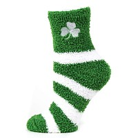 Donegal Bay NCAA Notre Dame Fighting Irish Striped Fuzzy Socks, One Size, Green