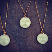 MAN In The MOON Necklace /// Electroformed Carved Bone Moon /// Gold