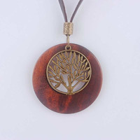 Life Tree Wooden Necklace