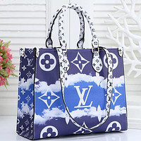 Louis Vuitton LV 2020 summer women big bag gradual tie dye printing big print hand bag blue