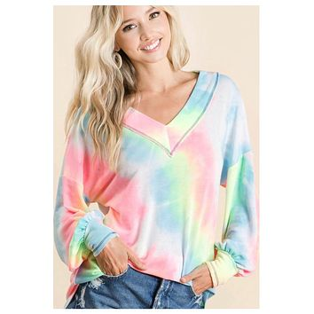 Adorable Tie Dye Puff Sleeve Sweater Top