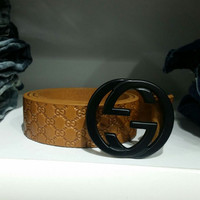 Authentic Gucci Men's Black GG Imprimé leather Belt