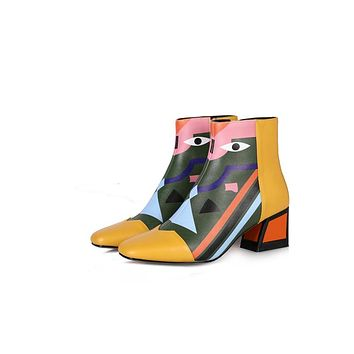 MACKENZIE Colorful Graphic Ankle Booties