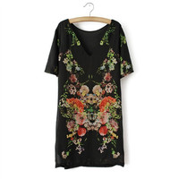 Summer Scales Pastoral Style Print Short Sleeve Skirt One Piece Dress [4917812996]