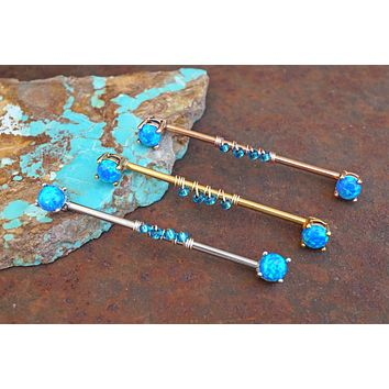 Blue Opal Industrial Barbell