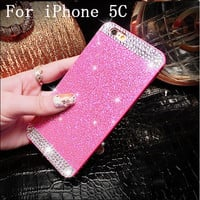 With Logo Glitter Rhinestone bling phone case for iphone 5C diamond clear crystal back cover Sparkle