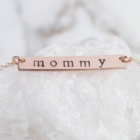Rose Gold Personalized Bar Necklace