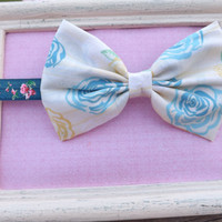 Vintage floral rose fabric bow lace headbands for babies, toddlers, teens, and adults.          ~FABRIC BOW DEPOT~