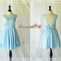 A Party Dress V Shape Dress Pastel Baby Blue Dress Backless Dress Prom Party Dress Wedding Bridesmaid Dress Cocktail Dress Custom Made