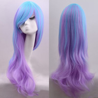 Harajuku Womens Long Curly Wavy Anime Full Wig Blue Purple Gradient Cosplay Hair
