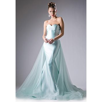 Sweetheart Neckline Strapless Mermaid Prom Gown with Tulle Train Mint