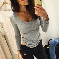 Winter Women New Slim solid color round neck long-sleeved T-shirt shirt female