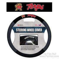 Maryland Terrapins Black Poly Suede Mesh Steering Wheel Cover University of