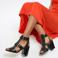 River Island heeled sandals with buckle detail in black at asos.com