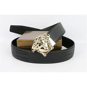 Versace Collection Italy Men's Gold Buckle Logo Black Leather Versace Belt