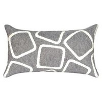 Squares Decorative Indoor/Outdoor Pillow - Silver - 12x20 : Target