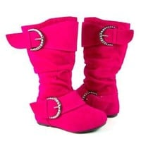 Girls Destiny-I Toddlers Studded Buckle Full Zipper Suede Boots