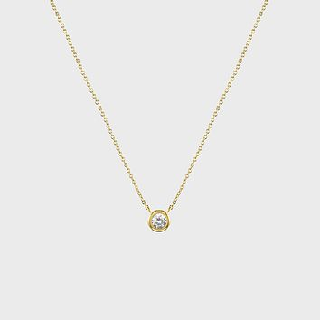 Solitaire CZ Bezel Necklace