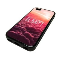 Apple Iphone 5 or 5s Case Cover Skin Be Happy Pink Clouds Hipster Design Black Rubber Silicone Teen Gift Vintage Hipster Fashion Design Art Print Cell Phone Accessories