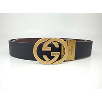 Gucci men's and women's leather belts are stylish double G letter smooth buckle fashion casual belt