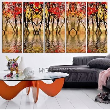 Large Wall Art Autumn Canvas Forest Art Canvas Print Tree Branches Canvas Painting Tree