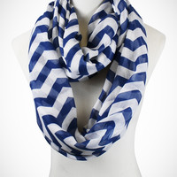 Cozy by LuLu- Blue and White Chevron Infinity Scarf
